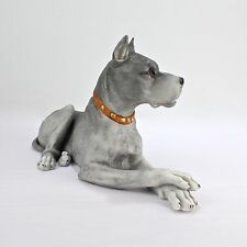 Big Grey Gebrueder Heubach Great Dane Bisque Dog Figurine - Dogge Porcelain PC