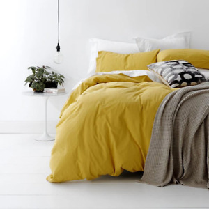 European Vintage Washed Cotton Quilt Cover Set MISTED YELLOW by Park Avenue