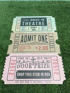 Giant MDF Set of 3 Admit One Cinema Theatre Ticket Party Prop Vintage Signage
