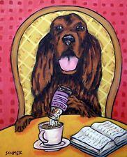 Irish Setter coffee 8x10 dog  artist prints animals impressionism gift