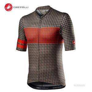 NEW 2021 Castelli MAISON Short Sleeve Cycling Jersey : BARK GREEN/FIERY RED