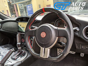 CARBON Fibre LEATHER Steering Wheel Red Line for 12-16 TOYOTA 86 Subaru BRZ FT86