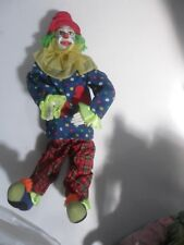 "Clown Doll 13"" Plastic Handpainted Hands & Head Fabric Body Poseable,Handmade"
