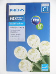 Philips 60ct Sphere Lights Warm White Indoor/Outdoor LED 19.6ft Lighted Length