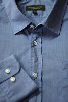 Joseph Abboud Men's Denim Blue Superfine Cotton Casual Shirt XL XLarge