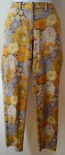 JENNI KAYNE Yellow Grey Beige 100% Cotton Floral Print Tapered Trousers US4; UK8