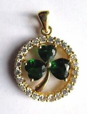 CRYSTAL GOLD TONED CLOVER PENDANT
