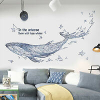 Huge DIY Blue Whale PVC Vinyl Removable Nursery Mural Decal Art Wall Sticker 60""