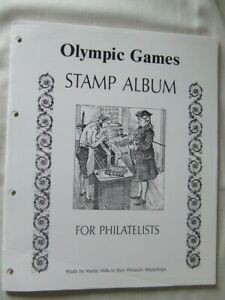 38x MARTIN MILLS OLYMPIC GAMES 4 RING QUADRILLE STAMP ALBUM PAGES 225mm x 280mm