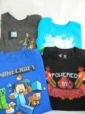 MINECRAFT 4 Boys Shirts Black Blue Gray 2 Medium 2 Small