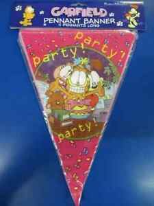 Garfield Office Party Rare Retro Cartoon Cat Decoration Pennant Flag Banner