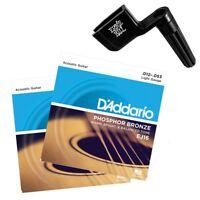 2 x D'Addario EJ16 Light Acoustic Guitar Strings 12 - 53 + Ernie ball Peg Winder