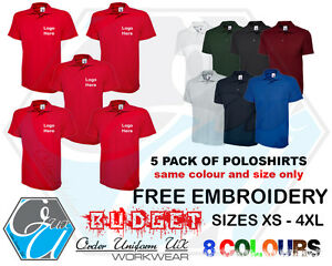 Personalised Embroidered Budget Polo Shirt x5 Workwear, Uniform, Logo, Cheapest