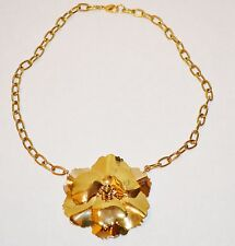 """New Gold Tone Flower Necklace 18"""" Chain Jewelbox Designs"""