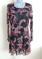 QVC Michele Hope Bold Dark Floral Mesh Net Long Sleeve Evening Party Dress UK 12