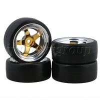 4Pcs Drift Tyre & 5 Spoke Wheel Rim 12mm-Hex For RC1:10 On Road Racing Car
