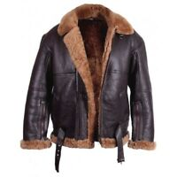 Men Real Shearling sheepskin Leather RAF Aviator Flying Jacket Luxury Leather