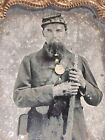 Rare 1860s Ambrotype of Armed CIVIL War Soldier With Early Eagle Case Design