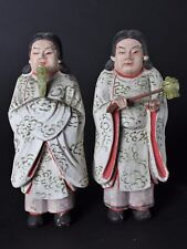 Set of 2  Antique Meiji Period Wooden Buddha Worshippers