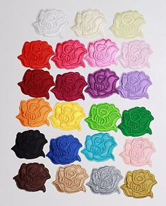 4 X  Small Rose Iron On Patches Embroidered  Applique Sew On Flowers