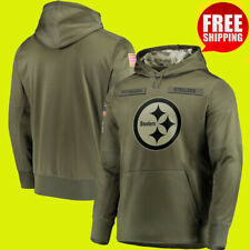 Men's Pittsburgh Steelers Olive Sweatshirt Salute Service Sideline Therma Hoodie