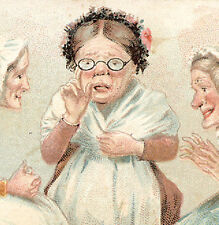 1880's J & P COATS THREAD TRADE CARD, LADY IN GLASSES IN A SEWING CIRCLE  TTC771