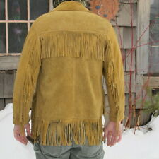 Vintage Buckskin Color Leather Mountain Man Tassel Western Coat Jacket