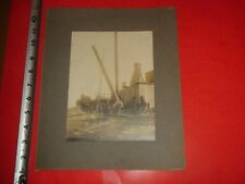 JB719 Vintage Early 1900s Photo Horse Drawn Block & Tackle Crane Steam Boiler