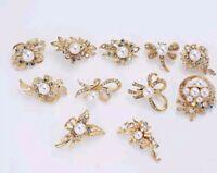 4 SMALL Wedding Bridal DIY Bouquet Gold Pearl Crystal Brooch Pin Women Jewellery
