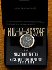 BLACK MIL-W-46374F TRASER WATCH H3 EXCELLENT LEATHER BAND IN BOX SWISS
