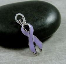 5 Purple Ribbon Charms Silverplated Enamel E161