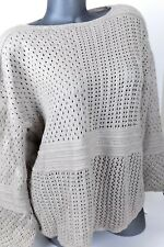Style&Co L Pullover Sweater Beige Boat Neck Patchwork-Stitch Crocheted $54.50