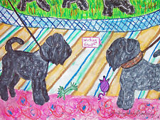Black Russian Terrier Dog Art 8x10 Print Ringside Gossio by Artist KSams Vintage