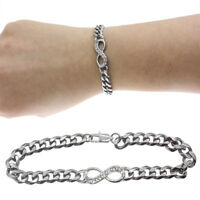 Quality Charm Stainless Infinity Braided Chain Bangle Bracelet Women's Gift Fast