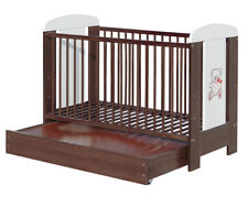 New Teddy Love Walnut Solid Wood Baby Cot with Mattress 3 Position Height