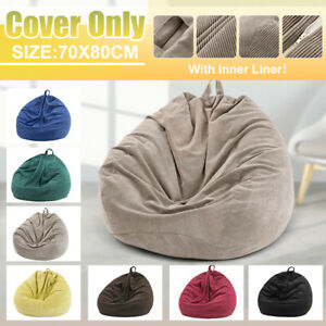 Corduroy Bean Bag Chair Gaming Sofa Cover Indoor Lazy Lounger For Kids