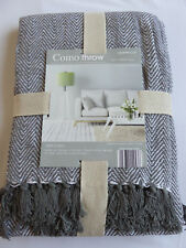 COMO DESIGN COTTON THROW CHARCOAL GREY & WHITE HERRINGBONE STYLE 127cm x 152cm