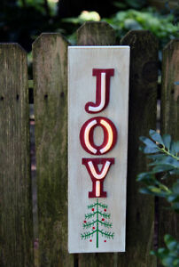 Neon Joy Lighted Wood Christmas Wall Hanging - 19.5 Inch