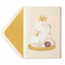 Papyrus Gorgeous Wedding Card- Cake with Shells, Pearls, Starfish, Coral, Gold