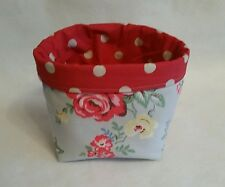 Handmade PARK ROSE/RED SPOT Cath Kidston Fabric bits&bobs Storage Basket