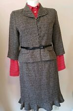 Danny & Nicole Womens Petite Plus Size 16P Skirt Suit Gray Wear To Work ~ Belted