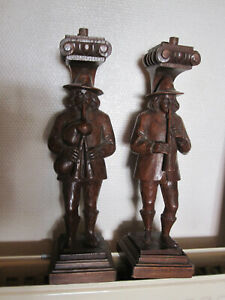 pair off antiques oak cariatydes beautifull sculpture off musicplayers