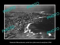 OLD LARGE HISTORIC PHOTO OF NANTUCKET MASSACHUSETTS AERIAL VIEW OF TOWN c1940 1