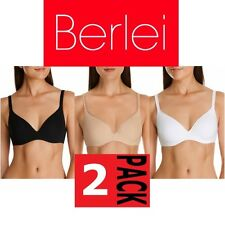 2 x BERLEI BARELY THERE CONTOUR TSHIRT BRA Black White Nude Y250N SALE