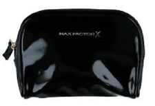 BNWT Max Factor Black Patent Make Up Bag Small Cosmetics with Zip