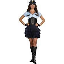 Womens Sexy Police Officer Corset Dress Halloween Costume Party LAPD  SMALL
