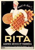 Original Art Deco Poster - Leon Dupin - Rita Waffles - Biscuits - Dessert - 1933