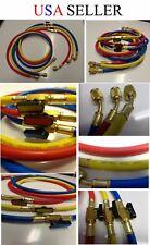 "60"" HVAC 1/4""SAE 800PSI Charging Hoses Shut Valve R410a,407a,R134a+5/16""Adapters"