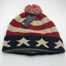 New D&Y Red Blue Stripe Star Knit Beanie Winter Hat w/ Ball One Size Fits Most