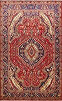 Vintage Geometric Tebriz Traditional Area Rug Hand-Knotted Oriental Carpet 7x10